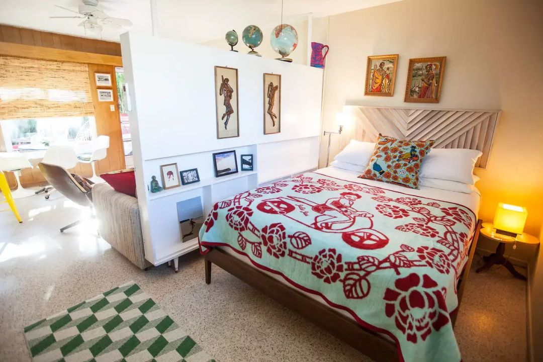 The ultra retro bedroom is a time capsule.