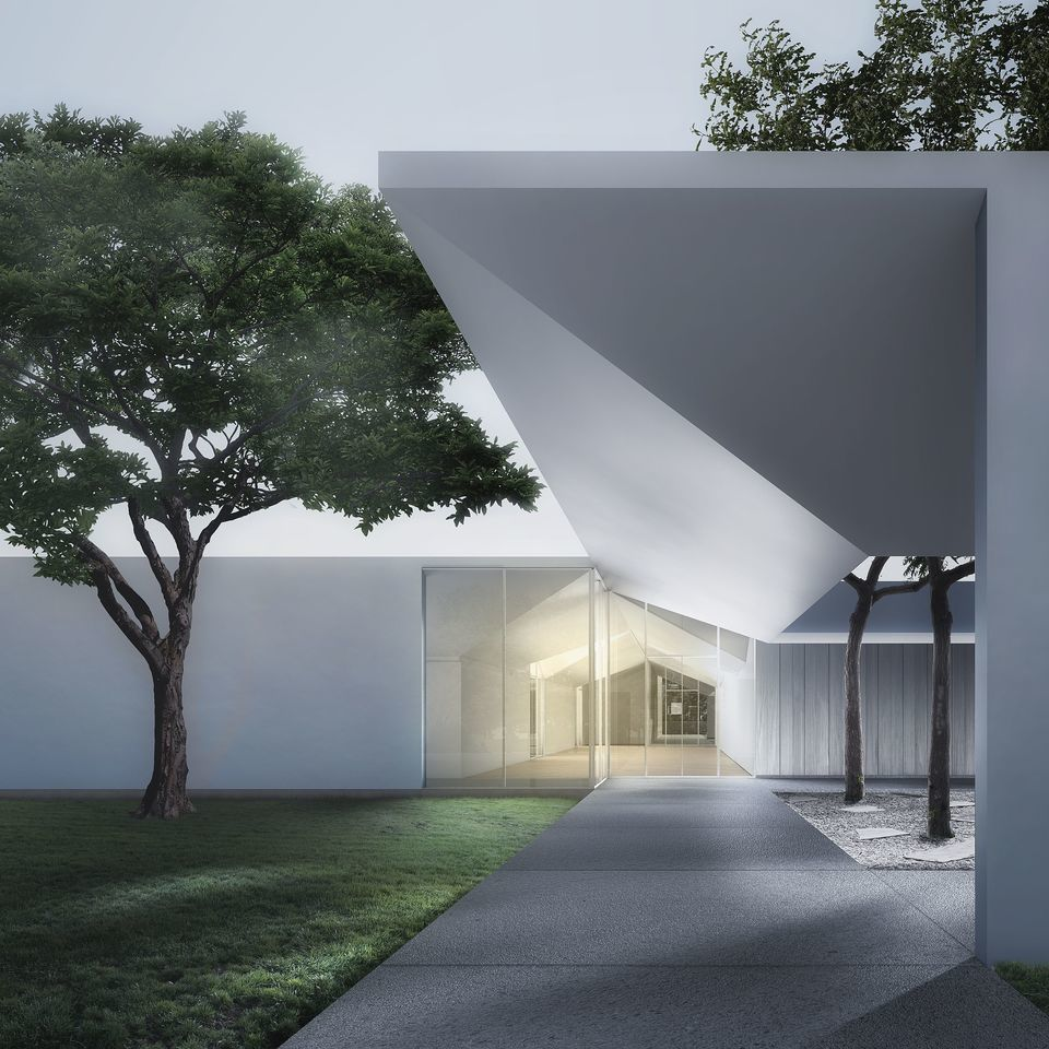 3. menil drawing institute at dusk  looking past the west entrance courtyard nrt9nj