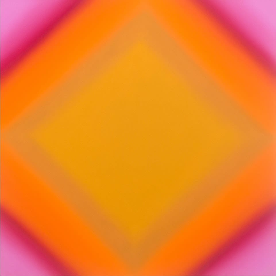 Matter of light 2 s4848  red green magenta ochre   matter of light series  2016  oil on canvas custom beveled stretcher  48 x 48 x 3 inches  copy megjej