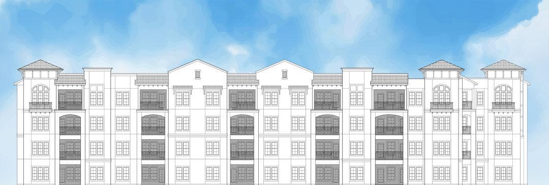 Exterior sketch of apartment complex