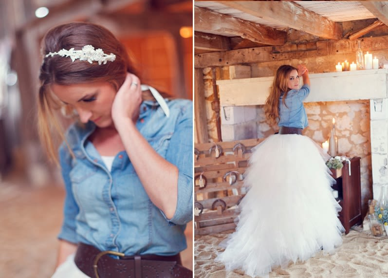 "9e7edc202b Are chambray shirts and denim jackets with wedding dresses an ""I do"" or an  ""I don t"" in your rule book  Share your thoughts below!"