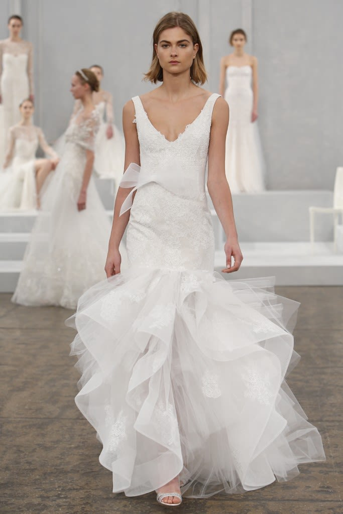 c3de84cccd Click through the gallery below to see more gowns in the Monique Lhuillier  Spring 2015 Bridal collection.