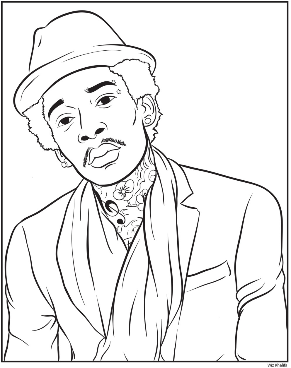 Free coloring pages of famous rappers for Rapper coloring pages