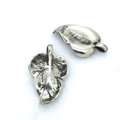 BPW17 White Bronze Leaf Charm