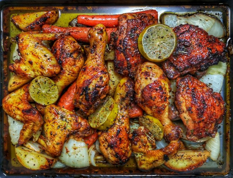 Roasted Lemon Garlic Chicken with Onions, Potatoes and Carrots