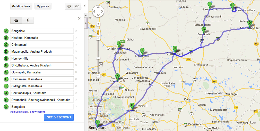 Bangalore to Horsley Hills Route Map