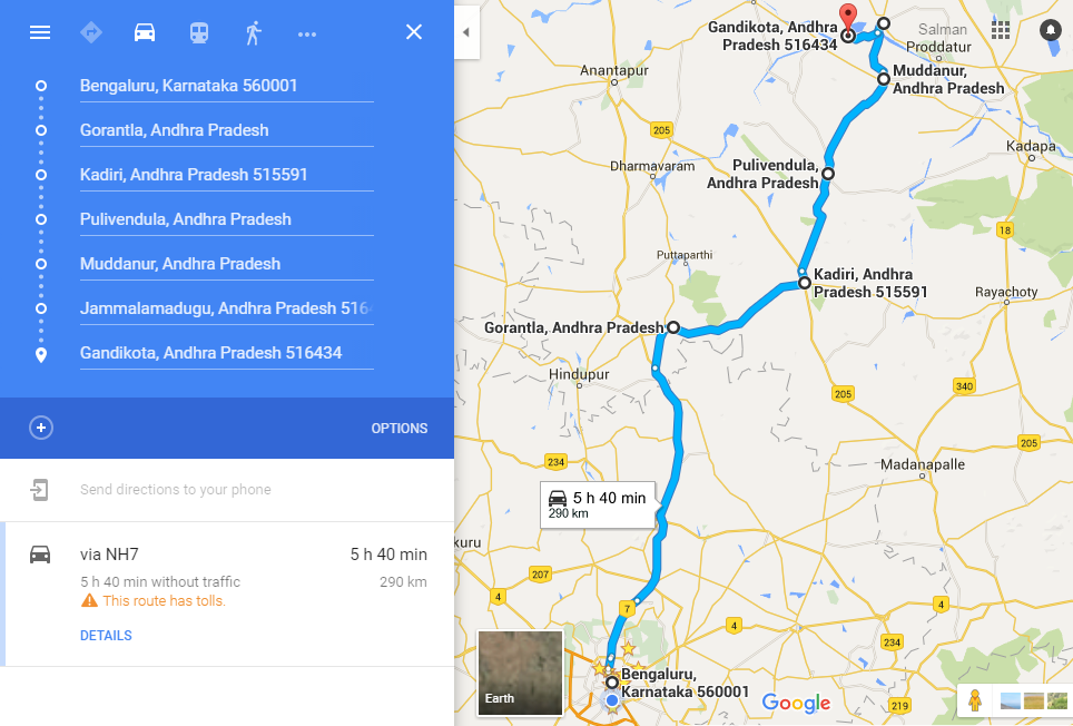 Bangalore-Gandikota-Route