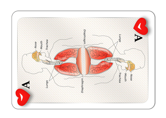 Playing Card Design Depicting Respiration
