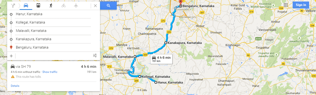 Hanur-to-Bangalore