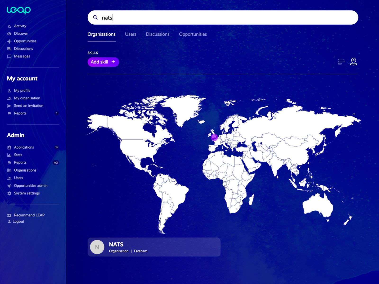 LEAP search view