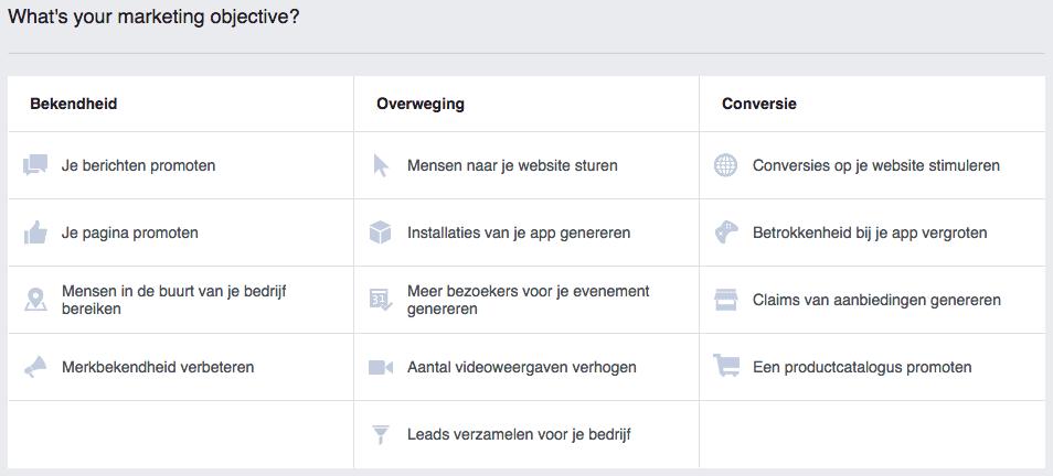 doelstelling facebook advertentie bepalen