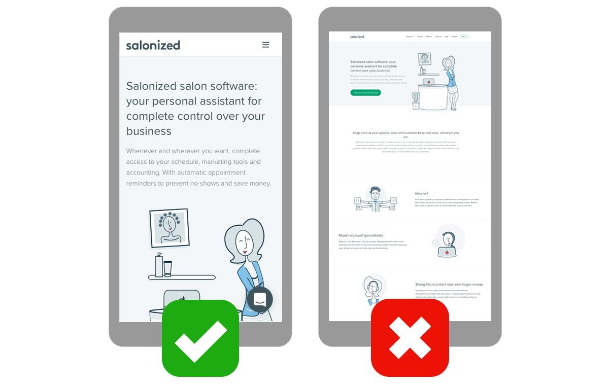 mobile responsive webdesign salon