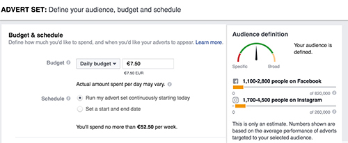 setting budget facebook ad salon