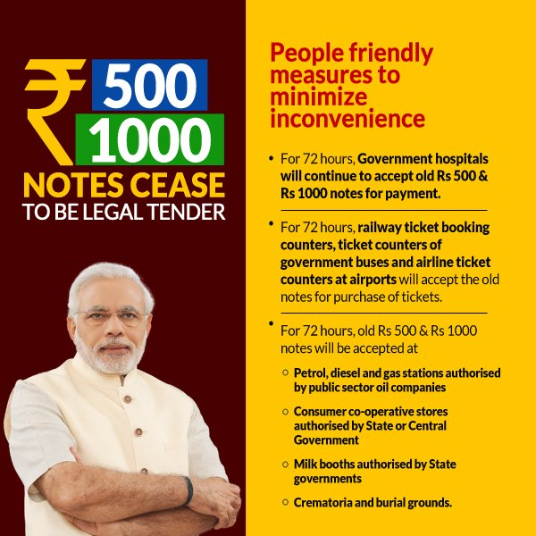 500 1000 rupee note ban india
