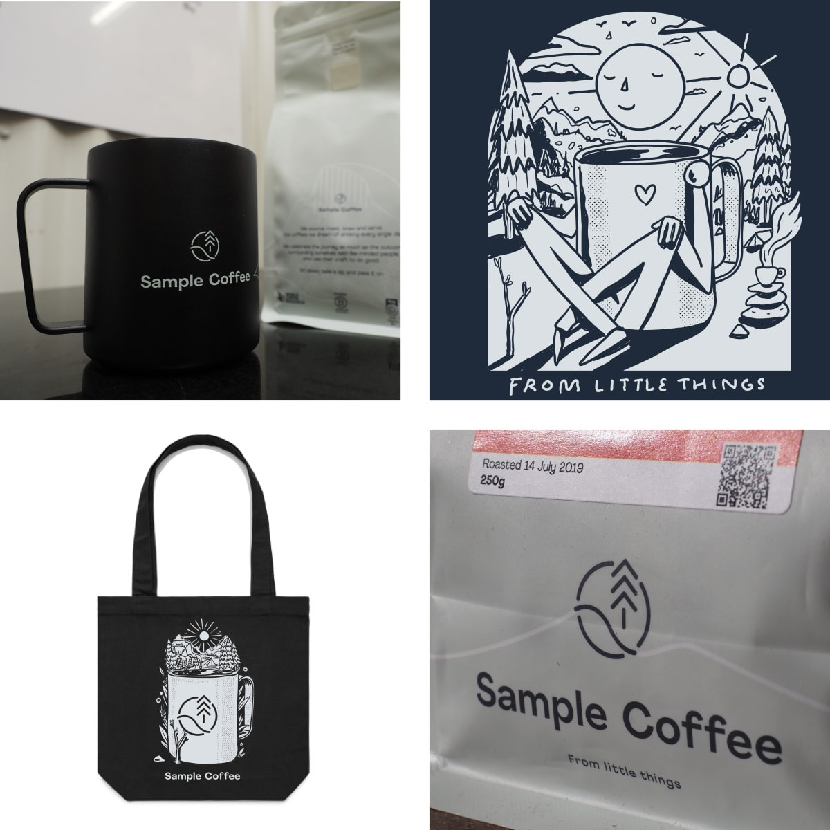 Photos depicting the current era of Sample's branding