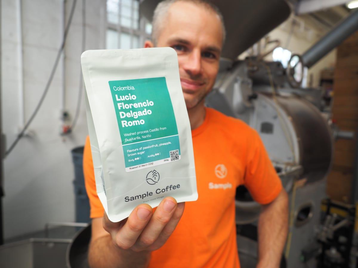 Reuben and a bag of Lucio's coffee
