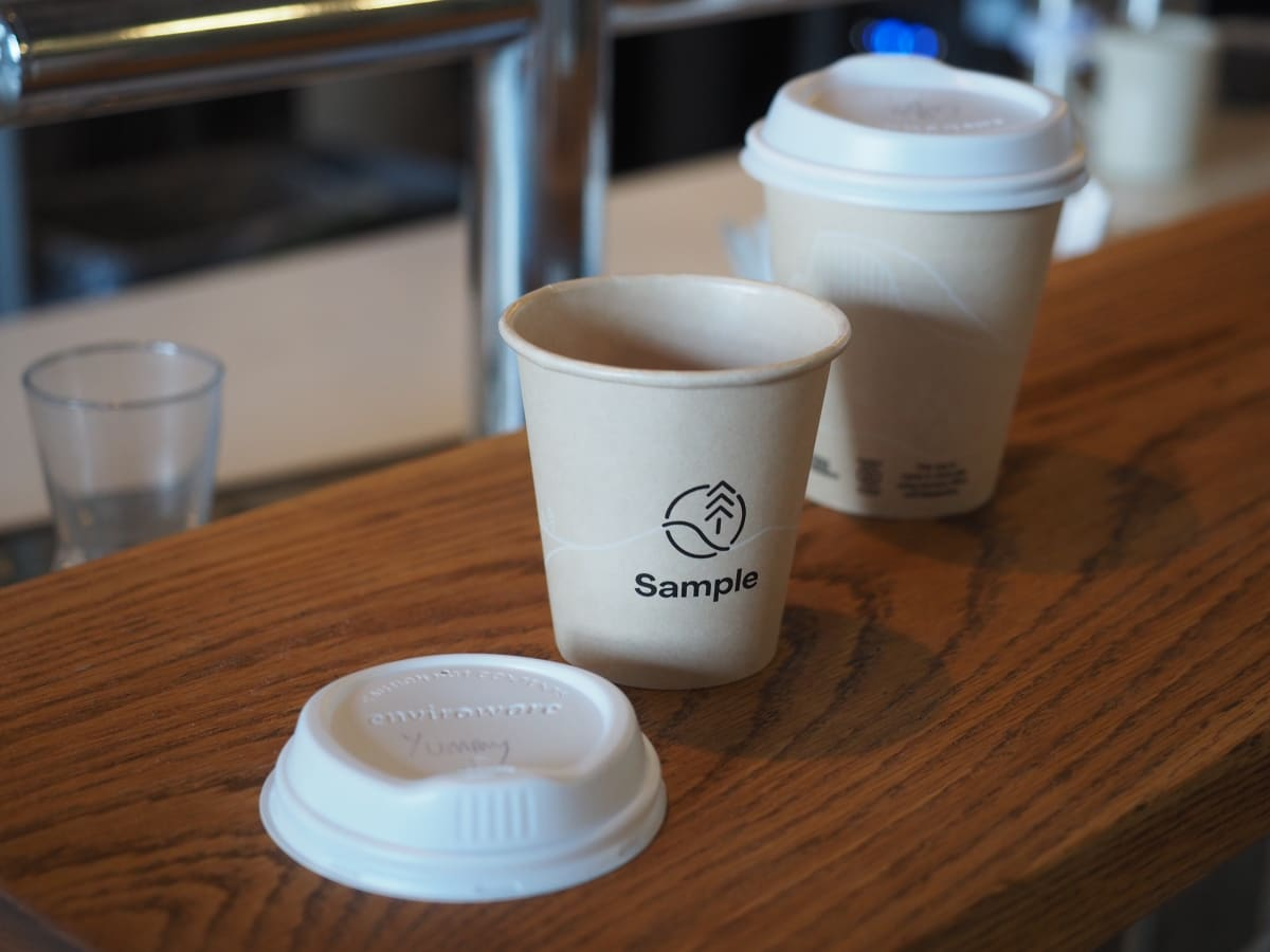 Our newest disposable coffee cup made out of bamboo