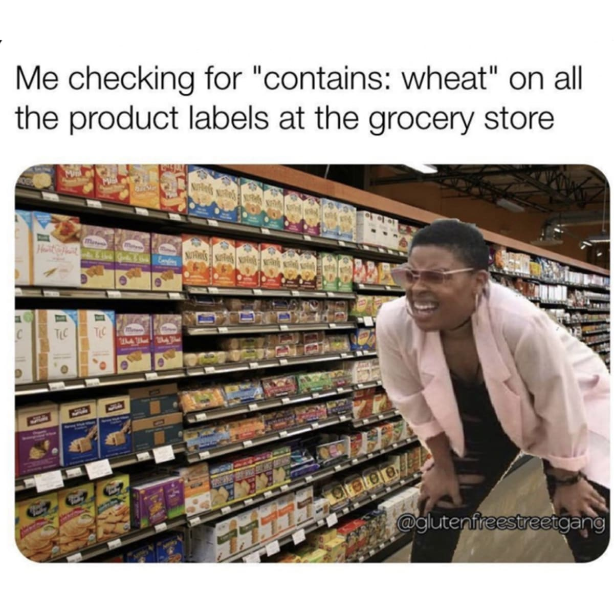 """A coeliac meme of someone looking for """"wheat free"""" labels in a supermarket"""