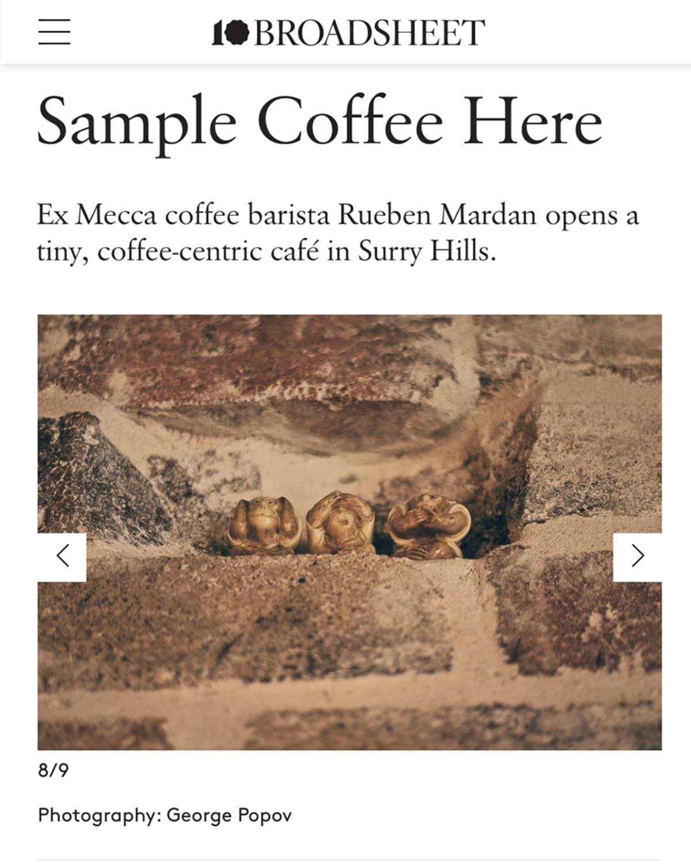 Broadsheet Sample Coffee Surry Hills