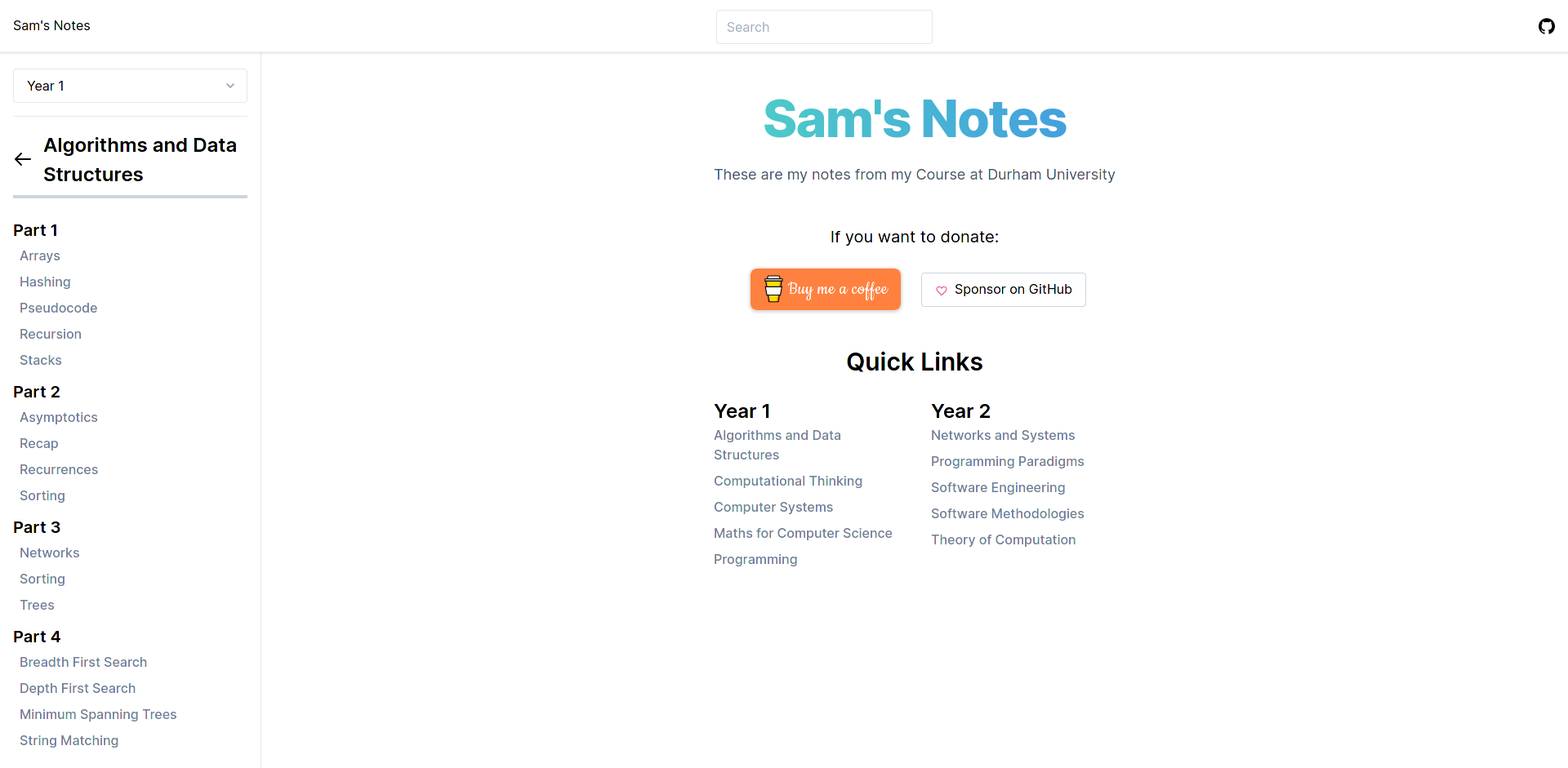 A website to store all of my University notes