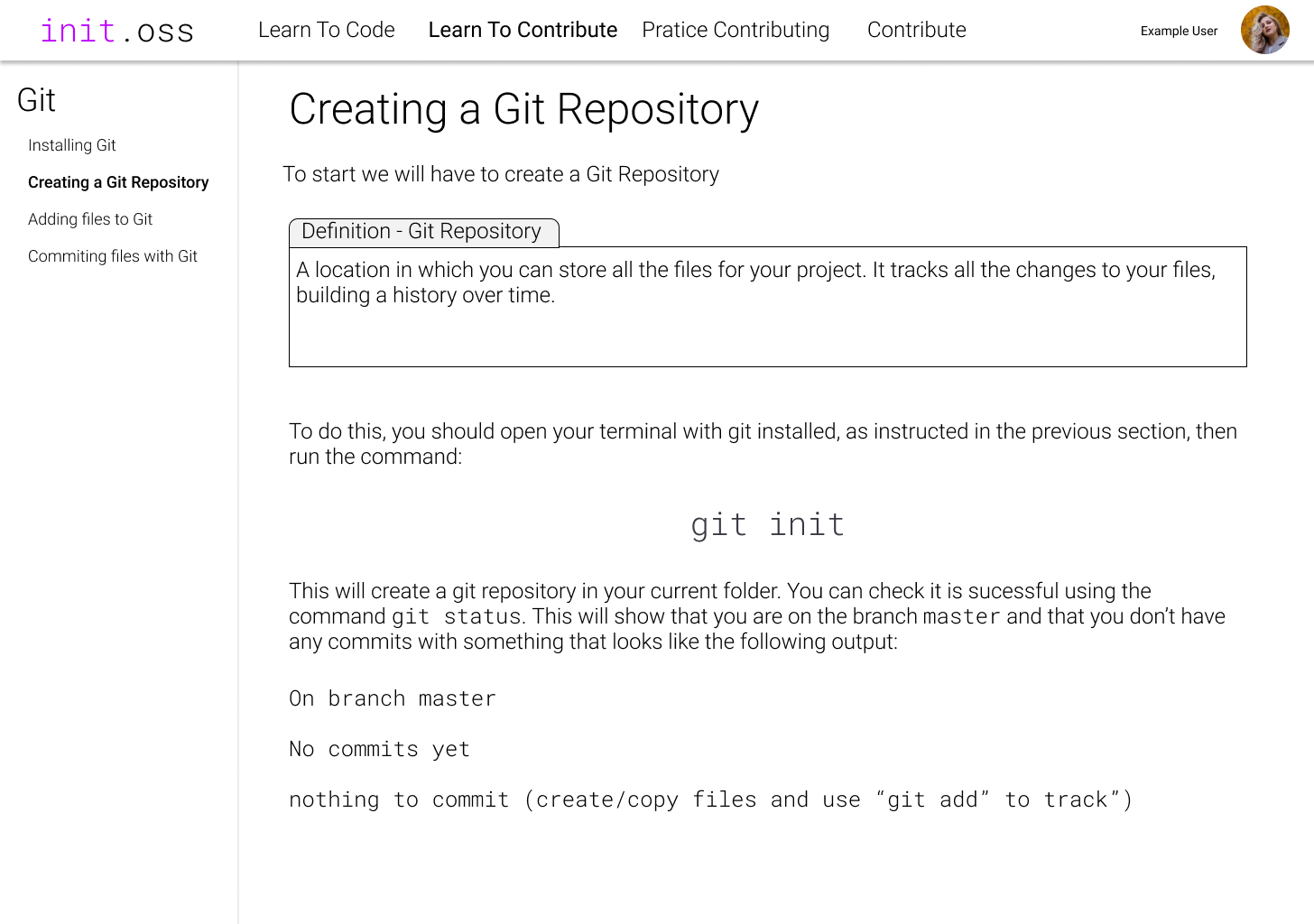 An example page for learning to contribute