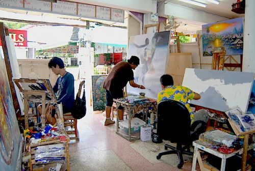 In house artists can often be seen working in the store.