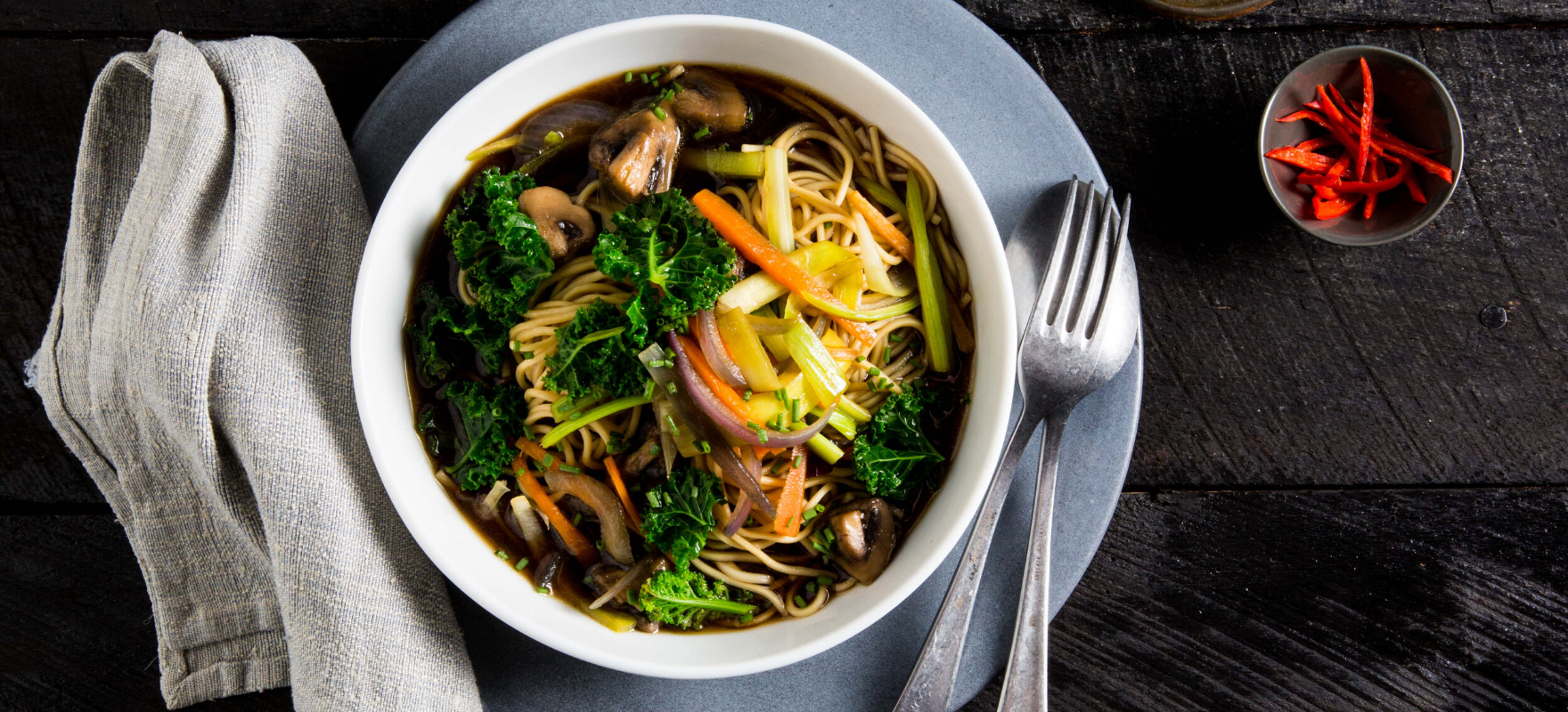Veggie and noodle broth soup image 1