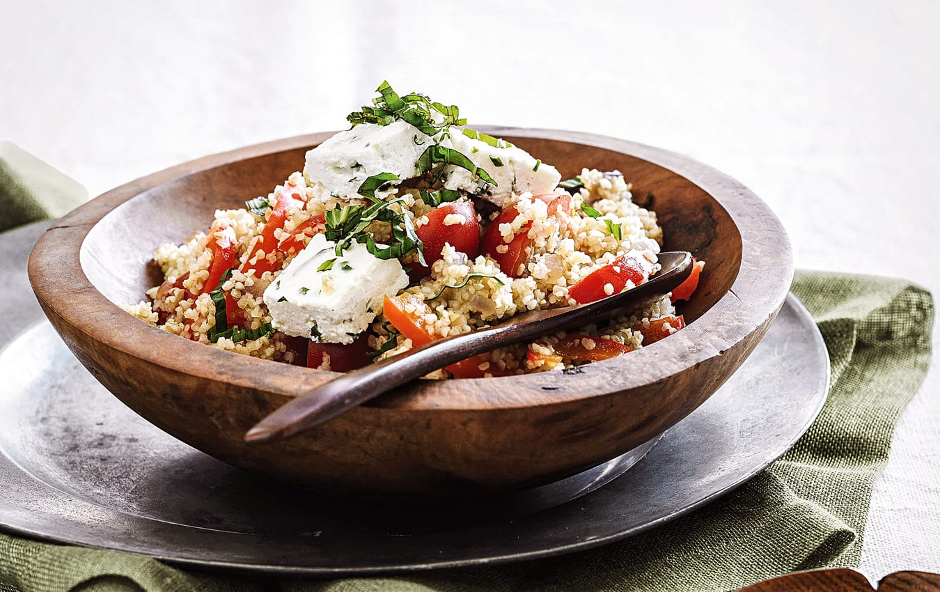 Warm capsicum, tomato, burghul and baked ricotta salad image 1