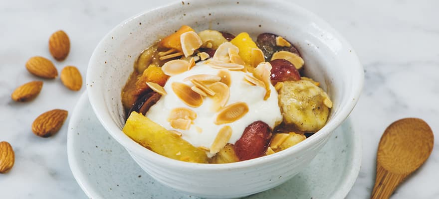 Caramelised fruit with almond and yoghurt thumbnail 1
