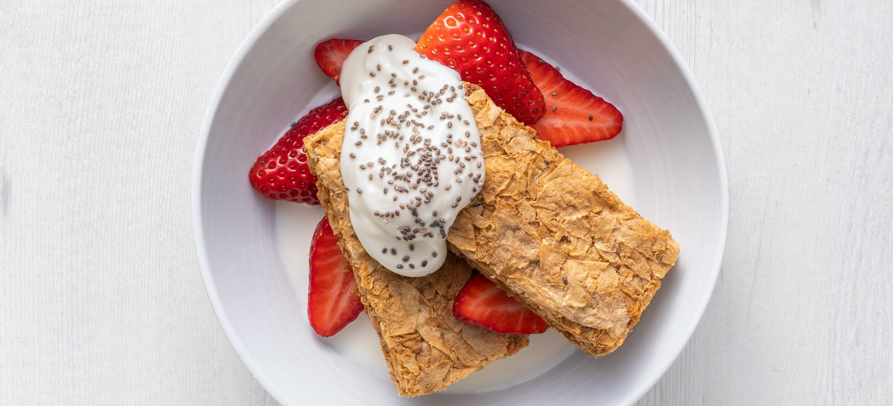 Weet-Bix™ with strawberries, yoghurt and chia seeds image 1
