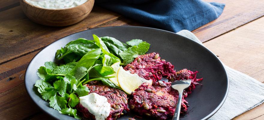 Weet-Bix, beetroot, zucchini and feta fritters image 1