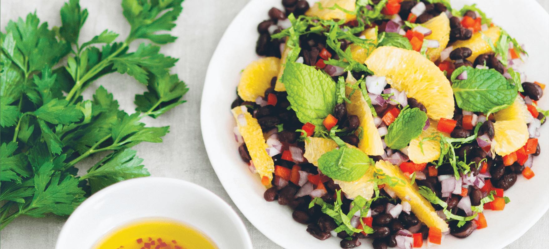 Black bean, orange, coriander and mint salad image 1