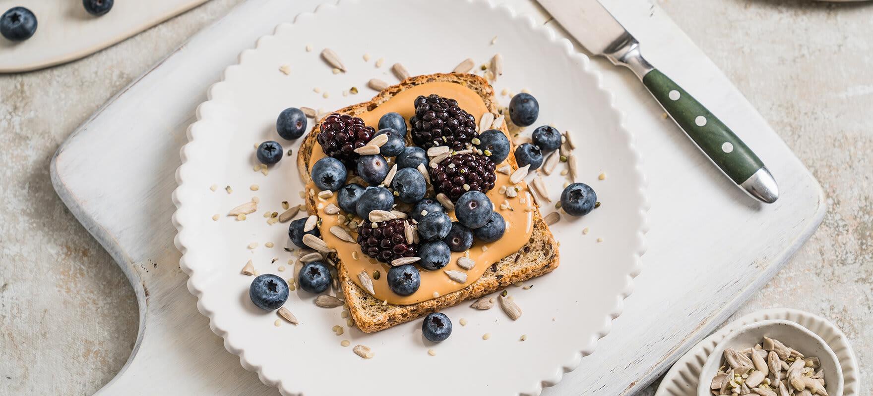 Peanut butter & purple berry toast image 1