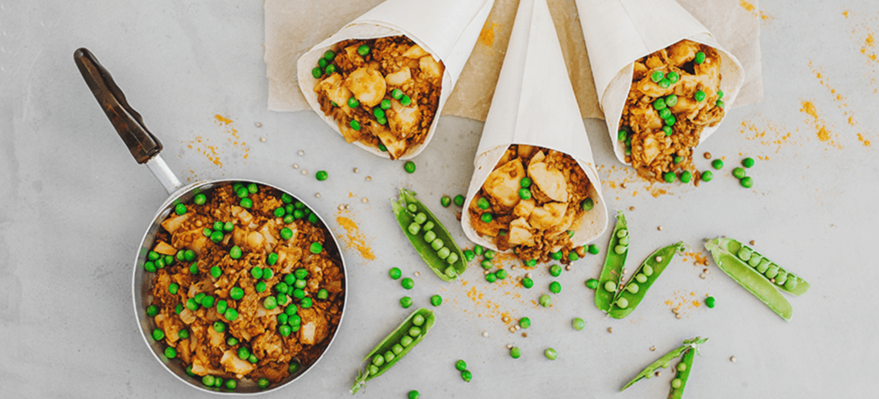 Potato and pea curry in roti cones image 1