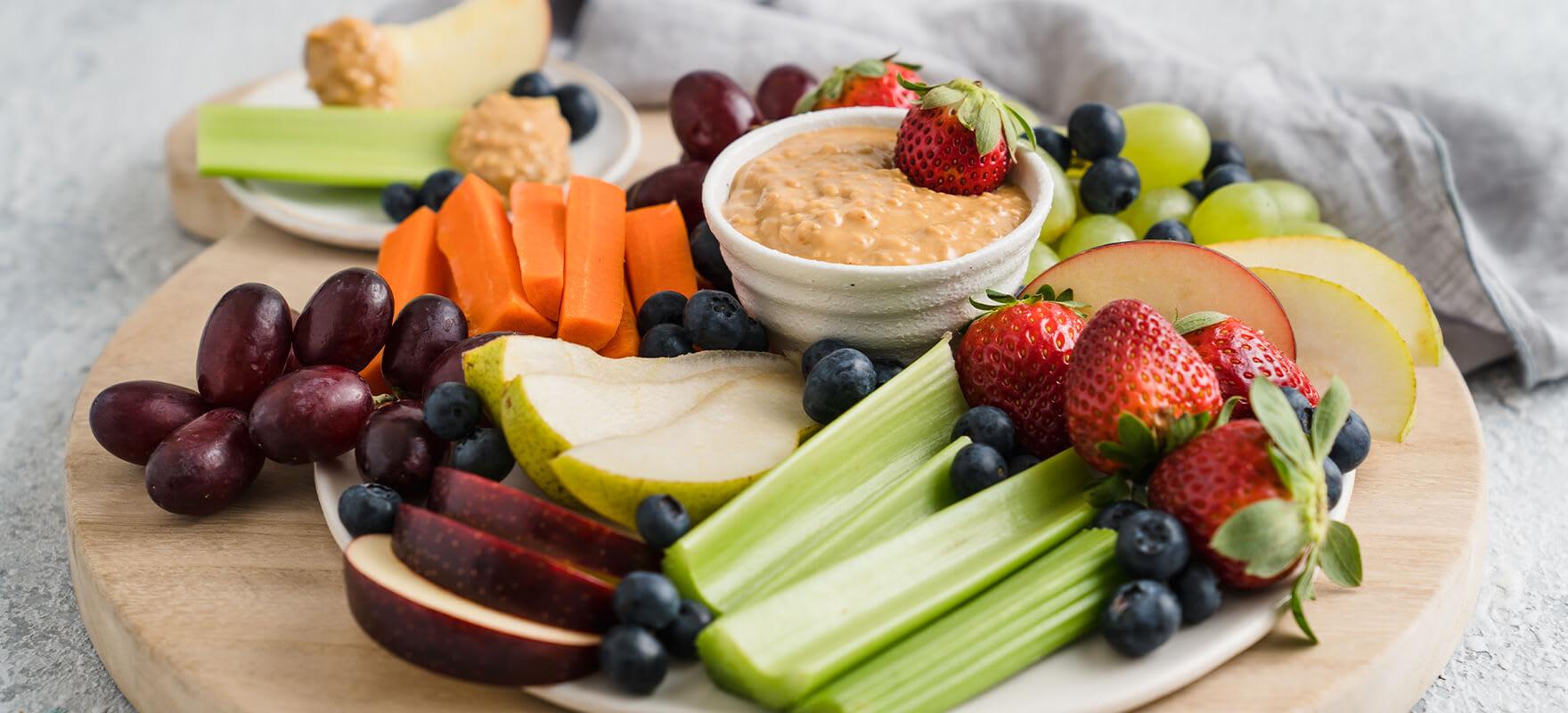 Peanut butter fruit & veggie platter image 1