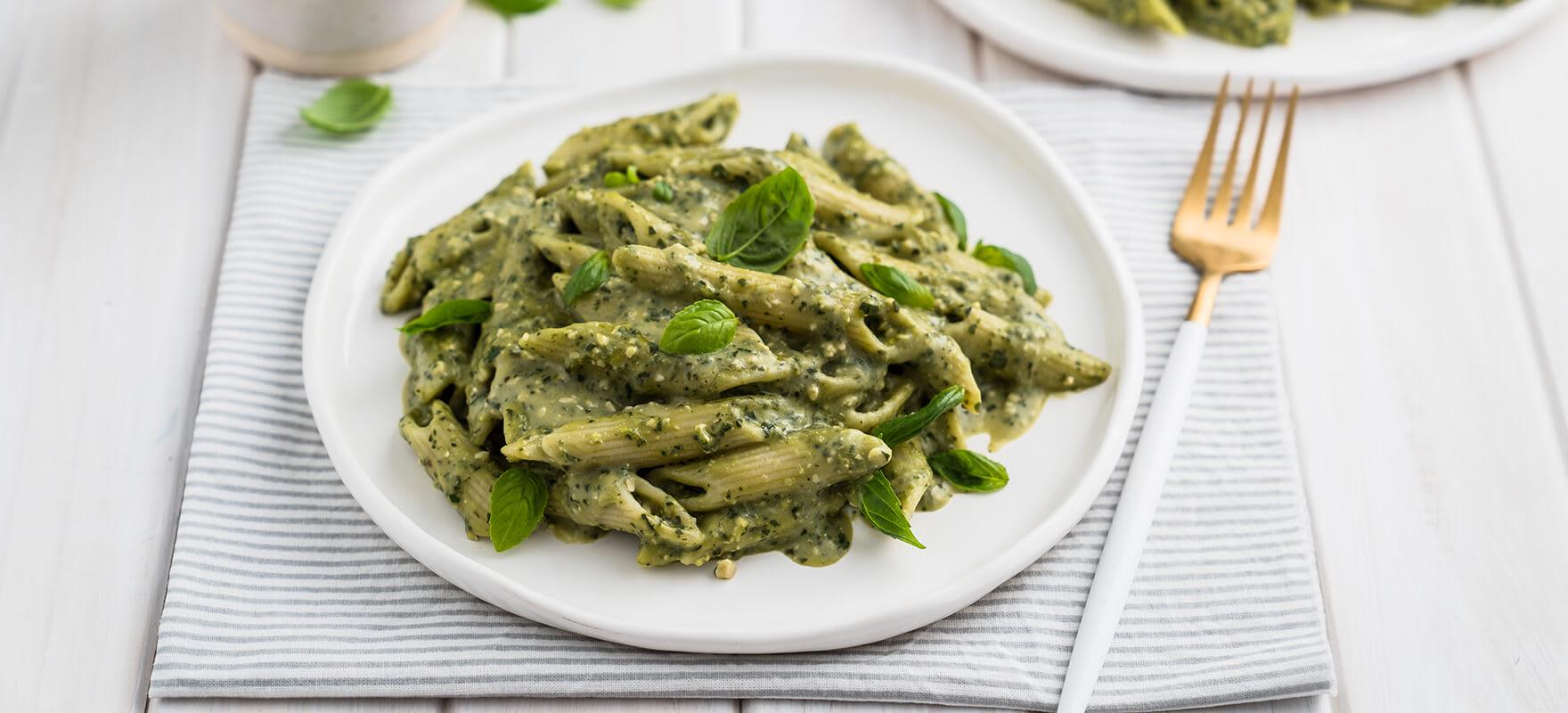 Vegan creamy pesto pasta image 1