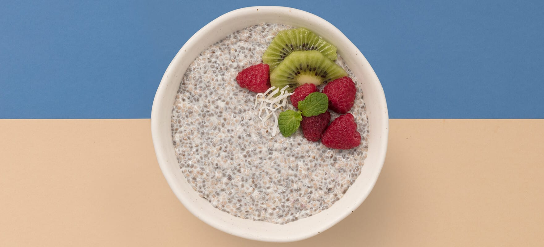 Raspberry & coconut chia pudding breakfast bowl image 1
