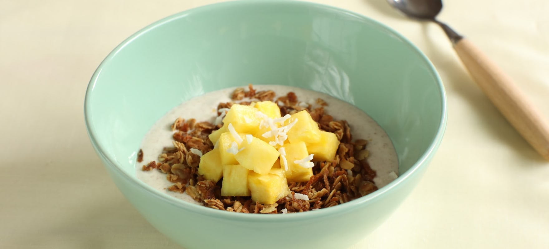 Tropical fruit with coconut crumble & cinnamon yoghurt image 1