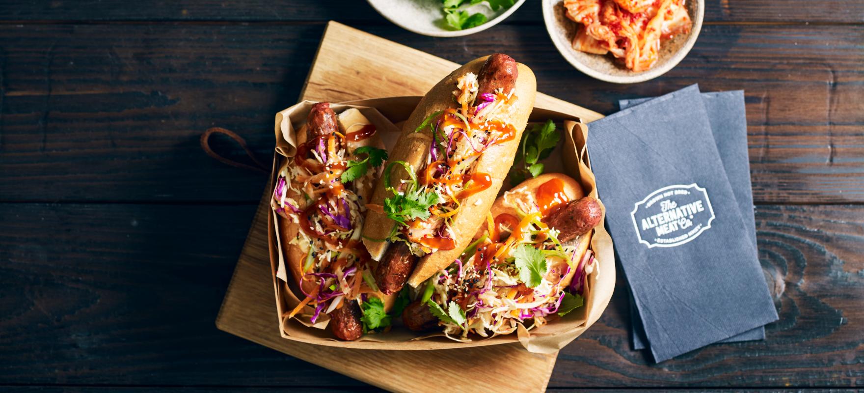 Vegan hot dog with kimchi slaw image 1