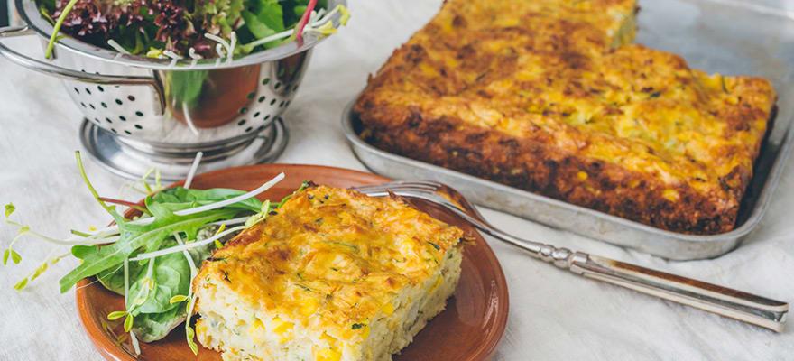 Zucchini and corn frittata slice image 1