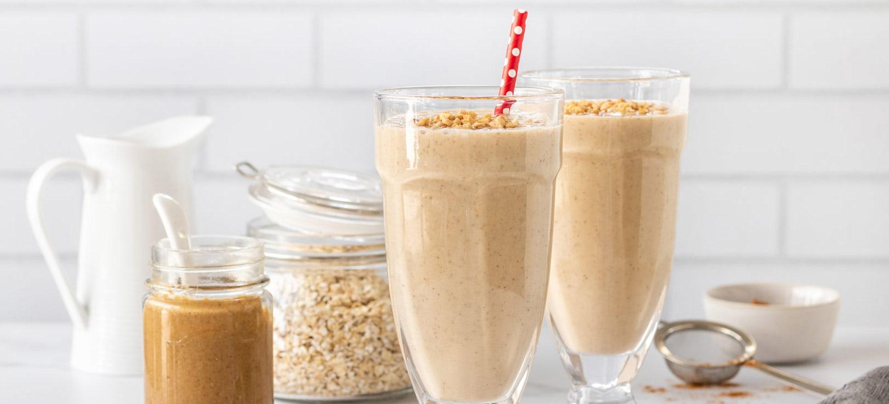 Peanut butter banana protein milkshake image 1