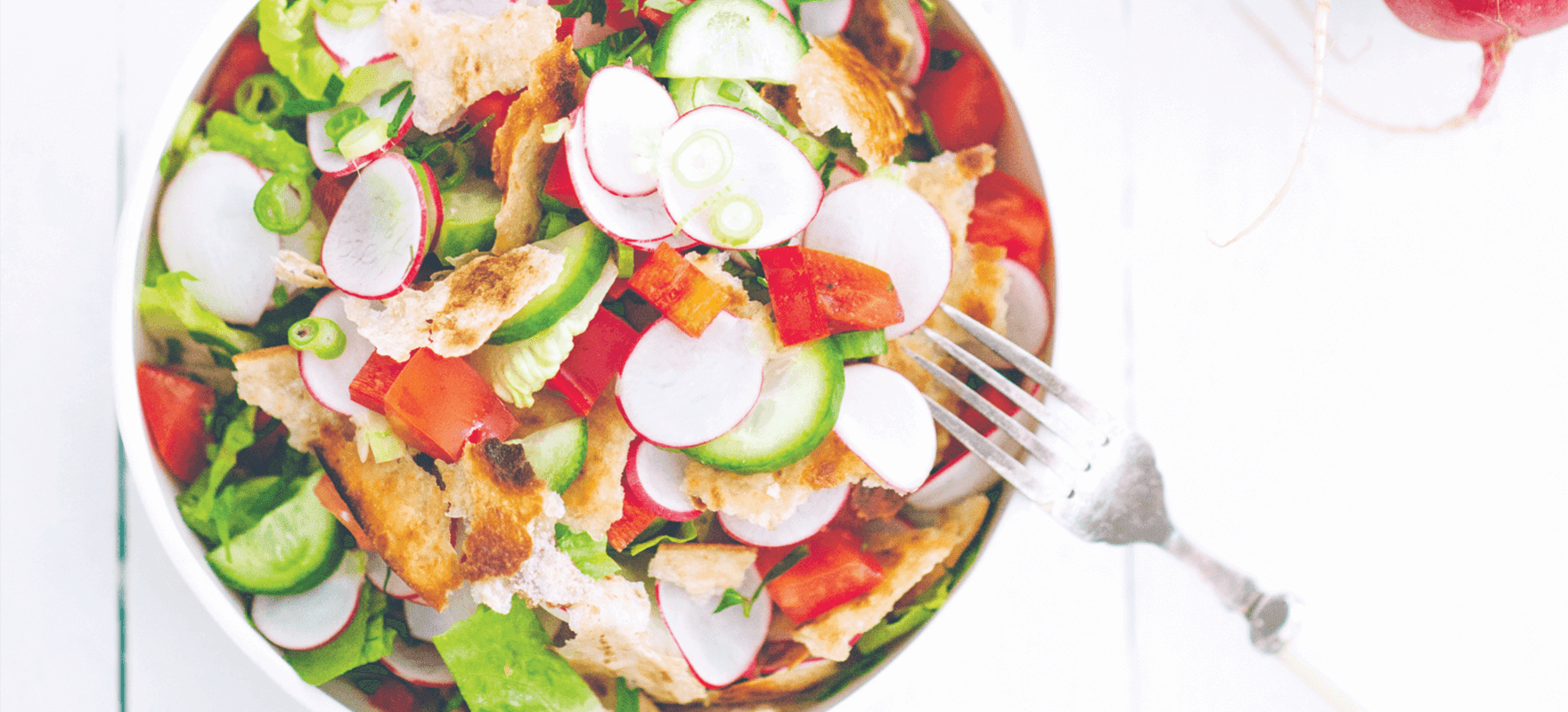 Fattoush salad with toasted bread and sumac image 1