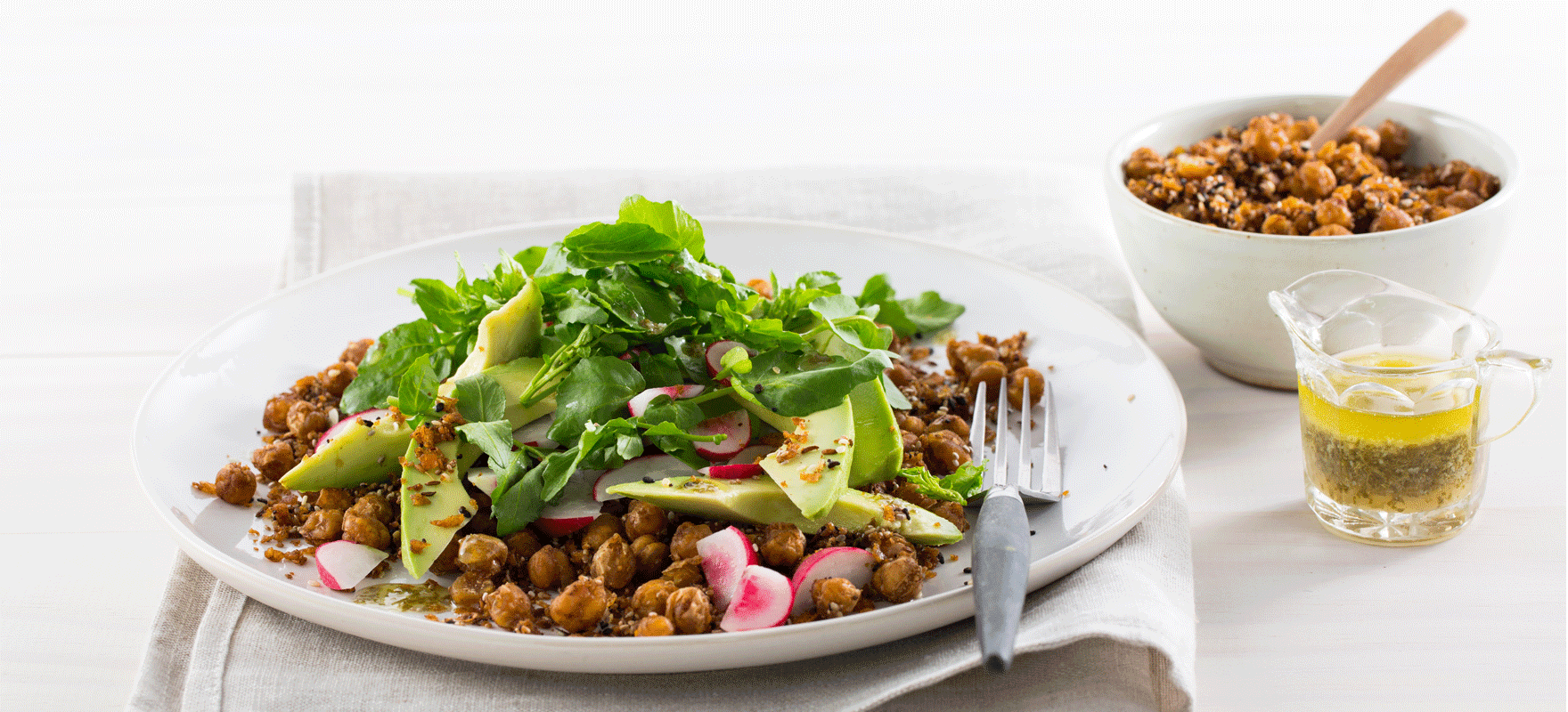 Spiced chickpea salad with avocado and watercress image 1
