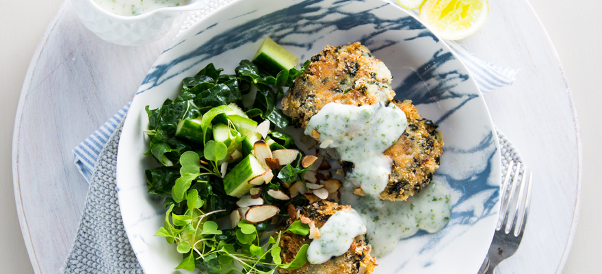 Potato and spinach cakes with almond parsley sauce image 1