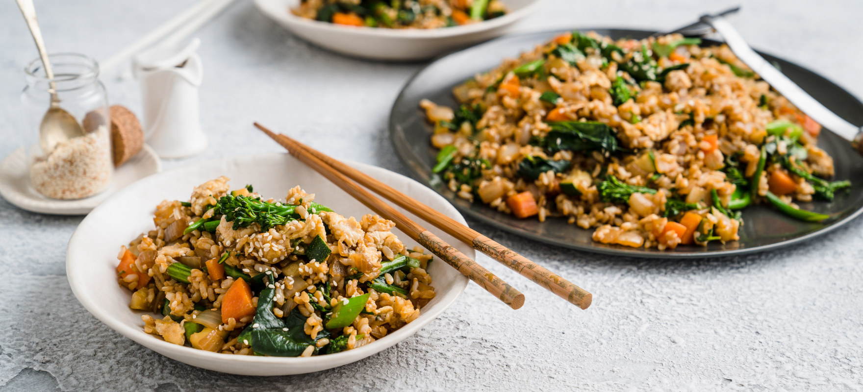 Stir-fried brown rice and vegetables image 1