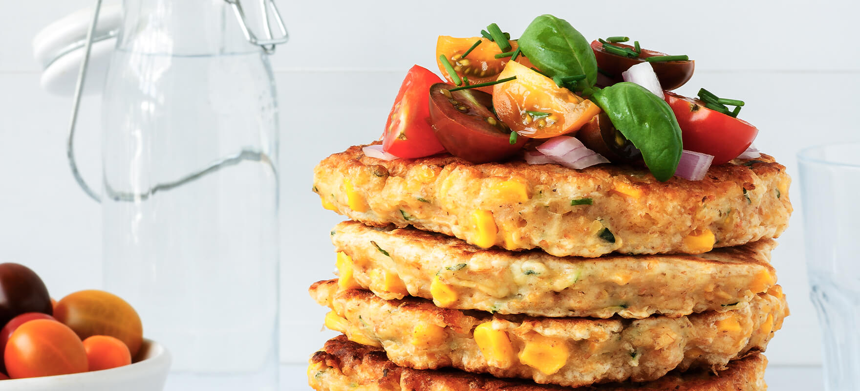 Corn, zucchini and chickpea fritters image 1