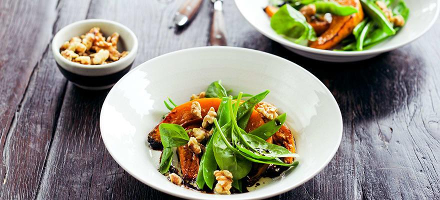 Pumpkin, walnut & snow pea salad image 1