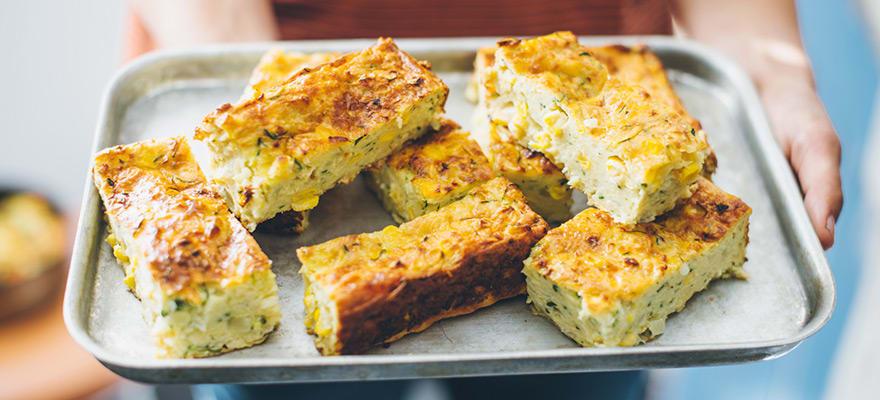 Zucchini and corn frittata slice image 3