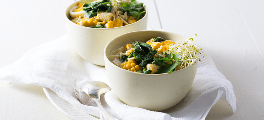 Corn, tofu, spinach and egg noodle soup image 1