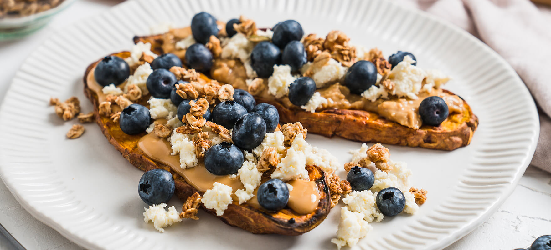 Sweet potato toast with peanut butter, ricotta & blueberries image 2